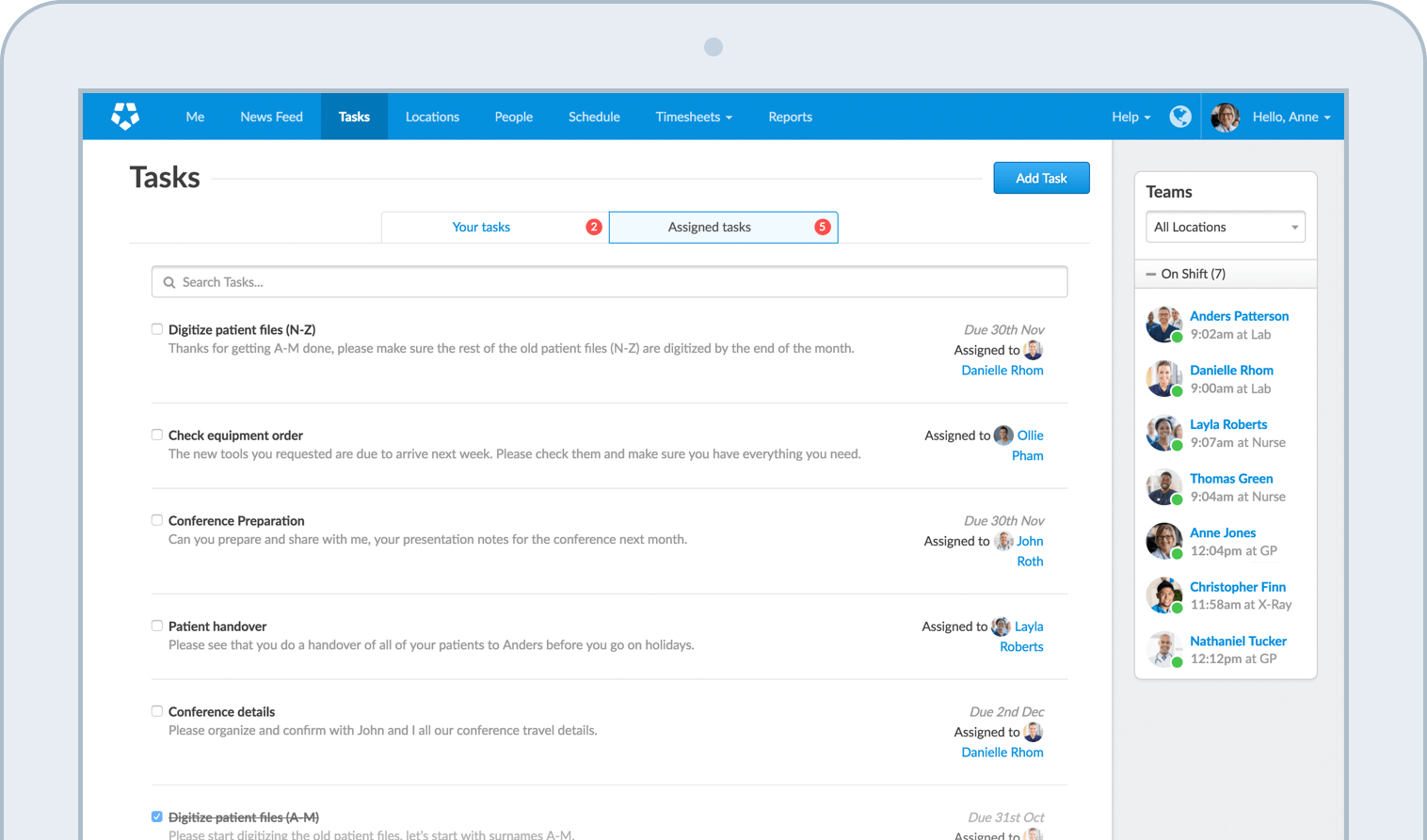 Online Team Task Management Software – Employee Task List