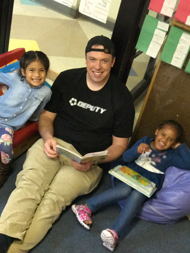 Sam had a great time reading with his new friends.