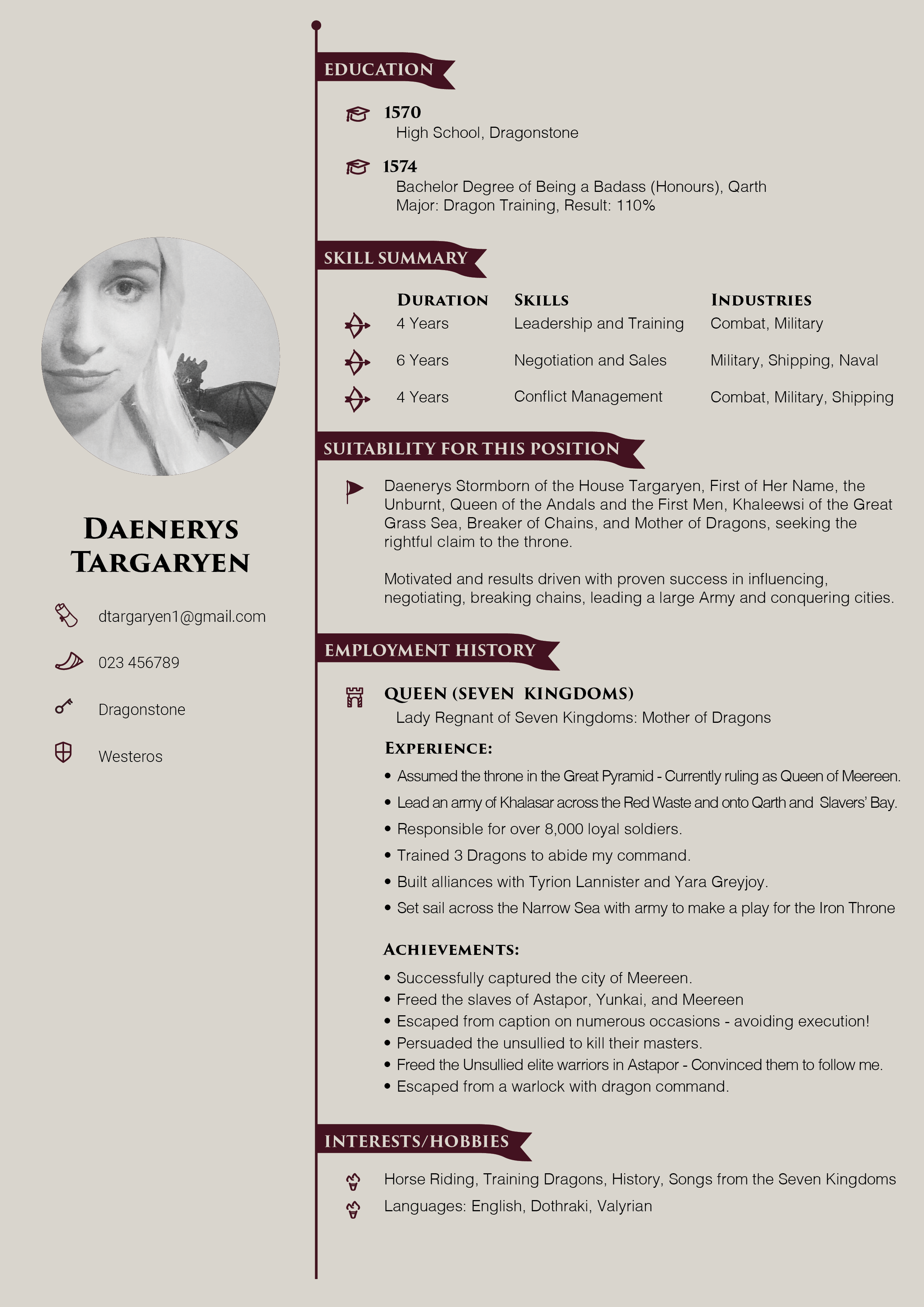 Daenerys Targaryen Resume