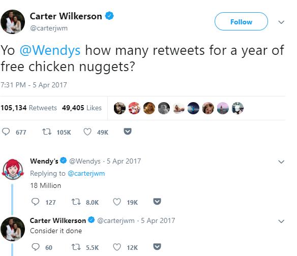wendys-retweet for chicken nuggets tweet