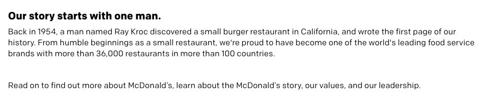 McDonald's company description